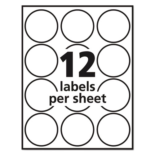 """Avery 22807 Round Print-to-the-Edge Labels, 2"""" Dia, Glossy"""