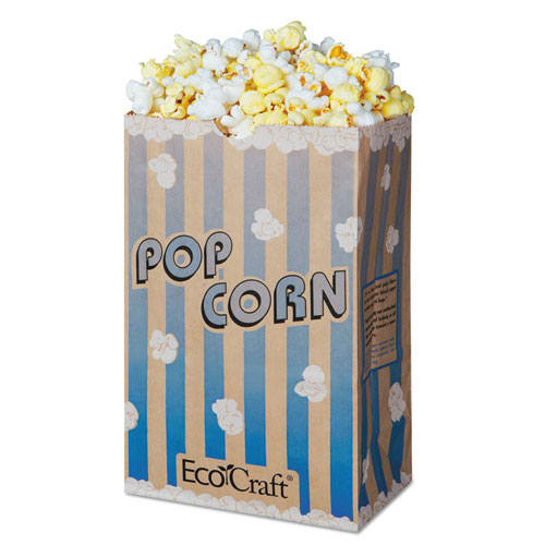 """EcoCraft Grease-Resistant Popcorn Bags, 85 oz, 2-ply, 3.25"""" x 8.63"""", Blue Stripe/Natural, 500/Carton"""