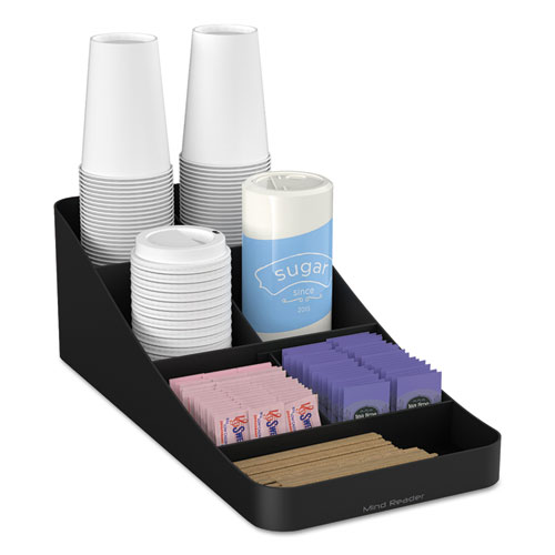 Trove Seven-Compartment Coffee Condiment Organizer, Black, 7 3/4 x 16 x 5 1/4