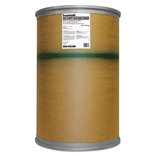 Blended Wax-Based Sweeping Compound, Red, Grit-Free, 150lbs, Drum