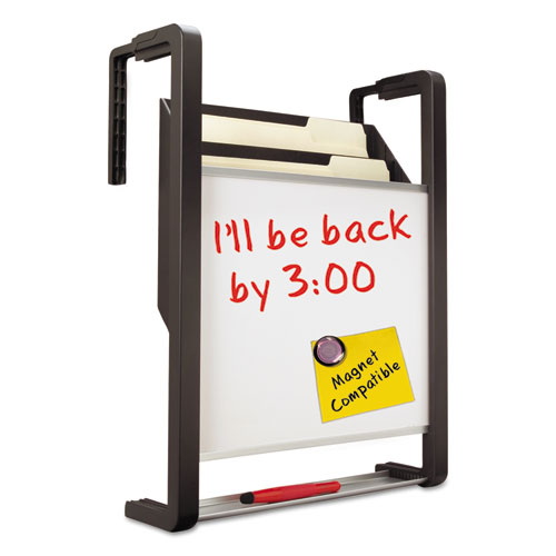 Hanging File Pocket with Dry Erase Board, Three Pockets, Letter, Black | by Plexsupply