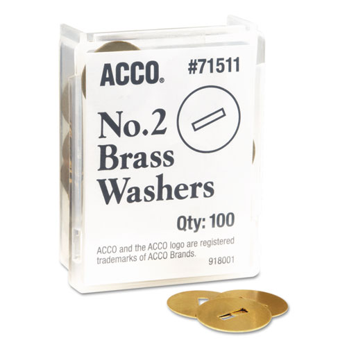 """Washers for Two-Piece Paper Fasteners, 1/2"""" Cap, 1 1/4"""" Diameter, Gold, 100/Box 