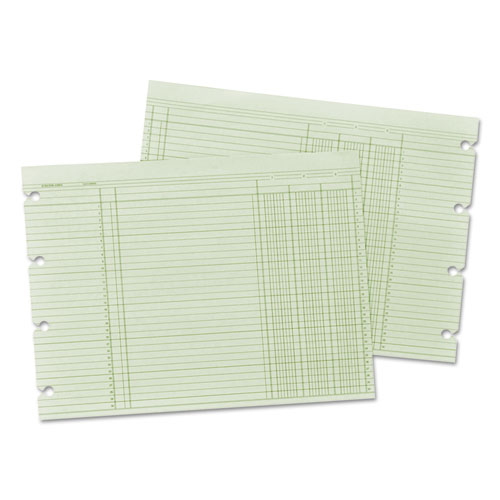 Accounting Sheets, Three Column, 9-1/4 x 11-7/8 , 100 Loose Sheets/Pack, Green