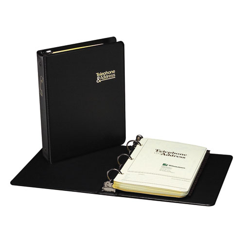 Looseleaf Phone/Address Book, 1 Capacity, 5 1/2 x 8 1/2, Black Vinyl, 80 Sheets
