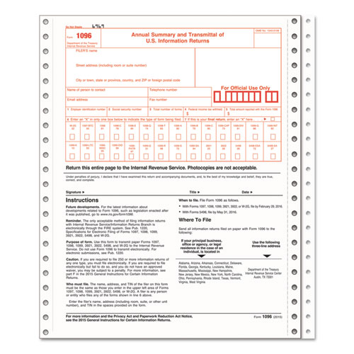 1096 Summary Transmittal Tax Forms, 2-Part Carbonless, 8 x 11, 10 Forms | by Plexsupply