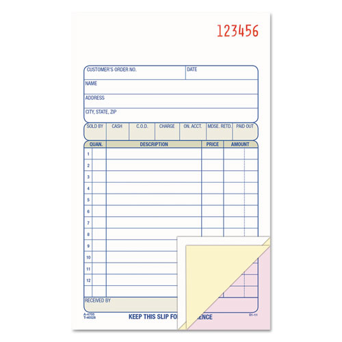 Carbonless Sales Order Book, Three-Part Carbonless, 4-3/16 x 7 3/16, 50 Sheets | by Plexsupply