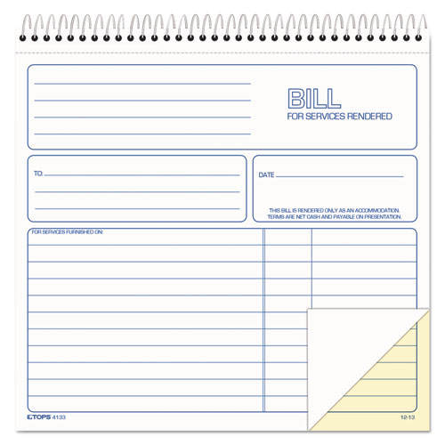 Spiralbound Service Invoices, 8 1/2 x 7-3/4, Two-Part Carbonless, 50 Sets/Book | by Plexsupply