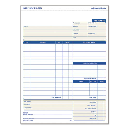 Snap-Off Job Invoice Form, 8 1/2 x 11 5/8, Three-Part Carbonless, 50 Forms | by Plexsupply