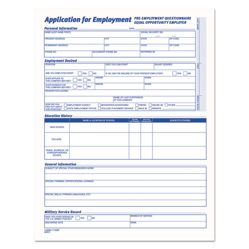 comprehensive employee application form 8 1 2 x 11 25 forms