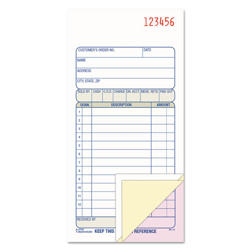 Carbonless Sales Order Book, Three-Part Carbonless, 3 1/4 x 7 1/8, 50 sheets | by Plexsupply