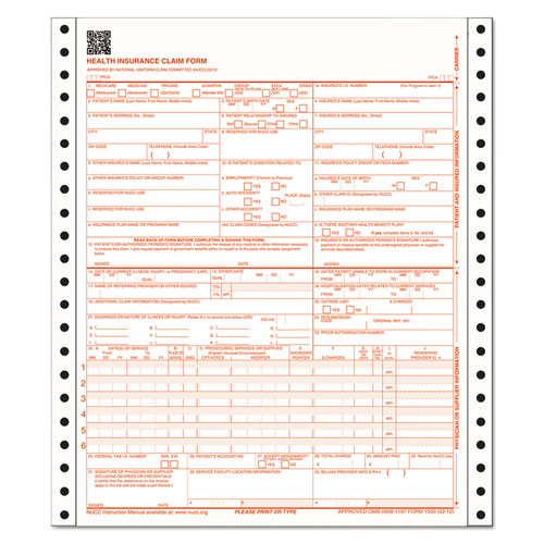 CMS Health Insurance Claim Form, 9-1/2 x 11, Three-Part, 100 Continuous Forms