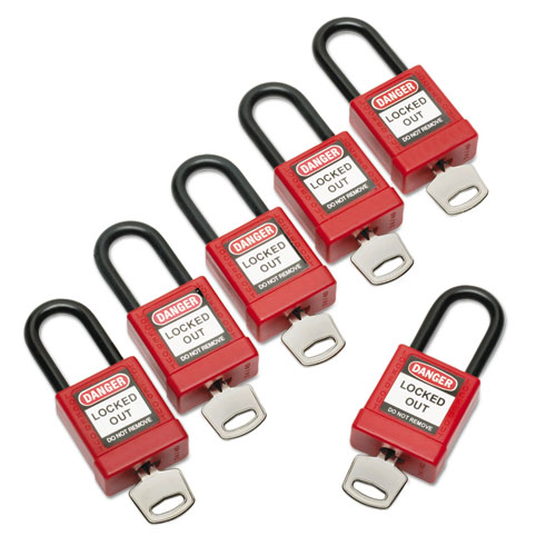 5340016502636, Lockout Tagout Padlocks, 1 Set of 6 Keyed Alike