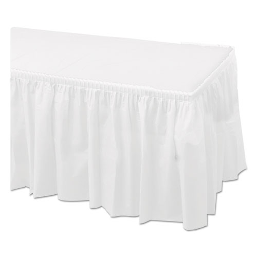 Tableskirts, Plastic, White, 29 x 14 ft, 6/Carton