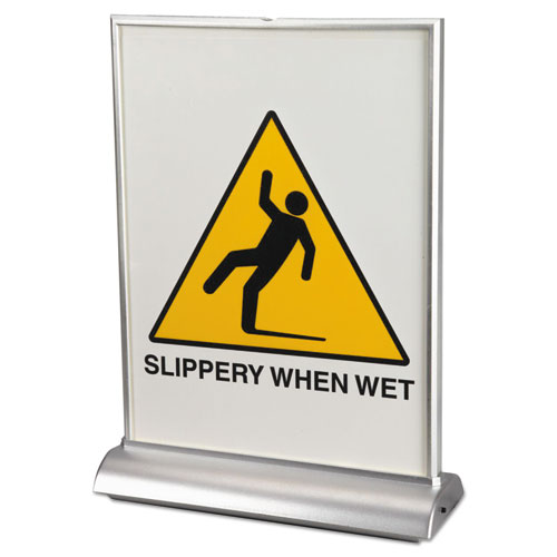 LED Two-Sided Countertop Display Sign, 8 1/2 x 11, Clear/Silver