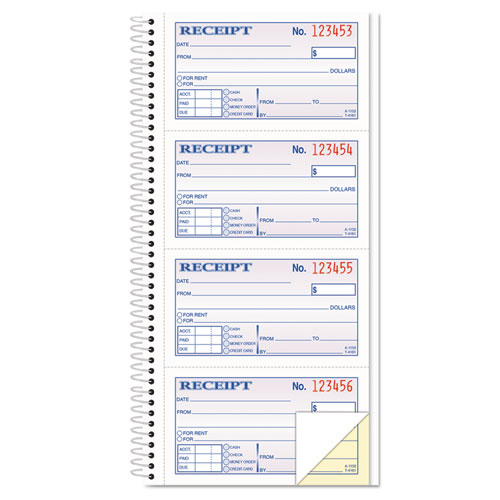 Money/Rent Receipt Spiral Book, 2-3/4 x 4 3/4, 2-Part Carbonless, 200 Sets/Book | by Plexsupply