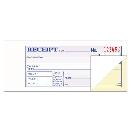 Money and Rent Receipt Books, 2-3/4 x 7-3/16, 2-Part Carbonless, 100 Sets/Book | by Plexsupply