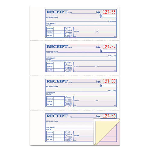 Money/Rent Receipt Books, 2-3/4 x 7 1/8, Three-Part Carbonless, 100 Sets/Book | by Plexsupply