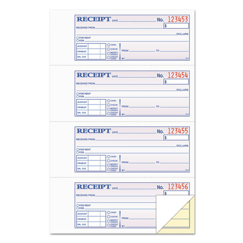 Money and Rent Receipt Books, 2-3/4 x 7 1/8, Two-Part Carbonless, 200 Sets/Book | by Plexsupply