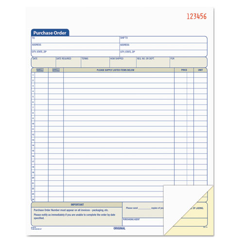 Purchase Order Book, 8 3/8 x 10 3/16, Two-Part Carbonless, 50 Sets/Book | by Plexsupply