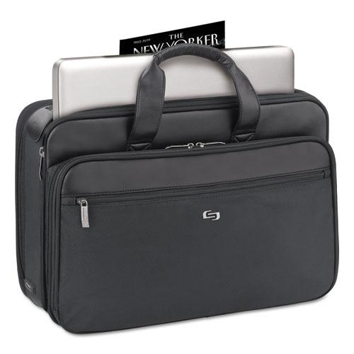 """Classic Smart Strap Briefcase, 16"""", 17 1/2"""" x 5 1/2"""" x 12"""", Black"""