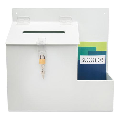 Suggestion Box Literature Holder w/Locking Top, 13 3/4 x 3 5/8 x 13, White