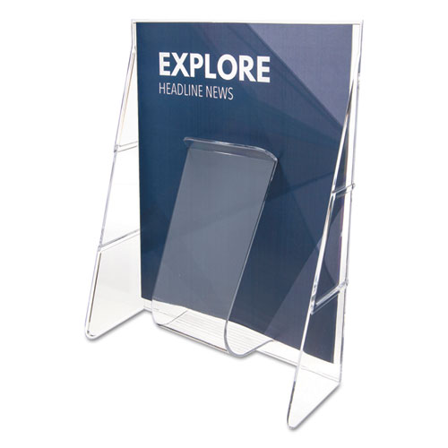 Stand-Tall Wall-Mount Literature Rack, Magazine, 9.13w x 3.25d x 11.88h, Clear