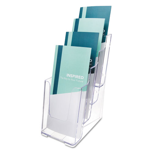 4-Compartment DocuHolder, Leaflet Size, 4.88w x 6.13d x 10h, Clear | by Plexsupply