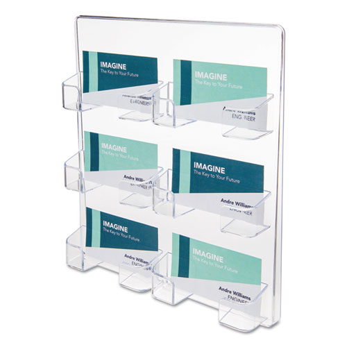 6-Pocket Business Card Holder, 480 Card Cap, 8 1/2 x 9 3/4 x 1 5/8, Clear | by Plexsupply