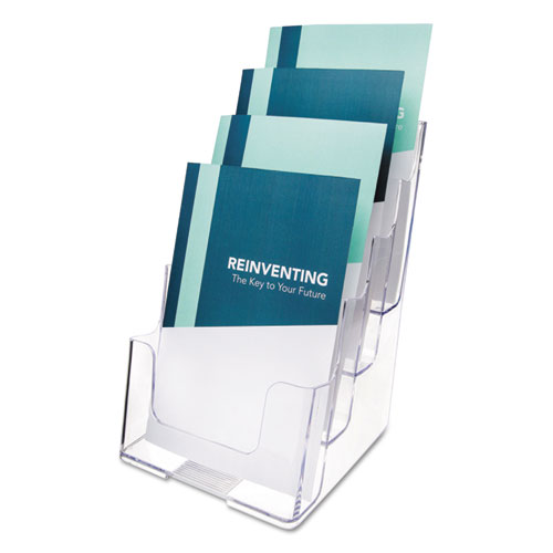 4-Compartment DocuHolder, Booklet Size, 6.88w x 6.25d x 10h, Clear | by Plexsupply