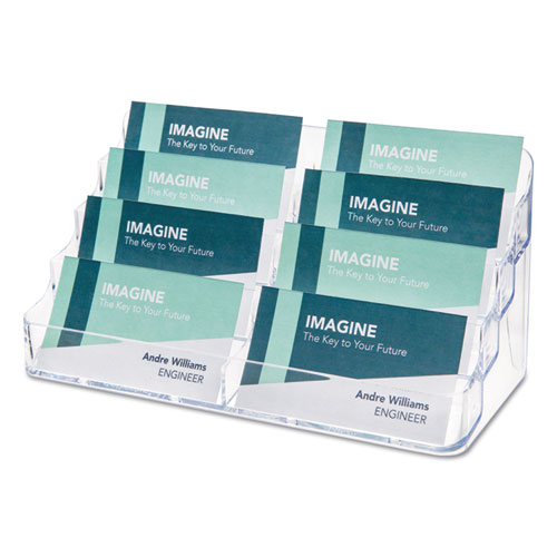 8-Pocket Business Card Holder, 400 Card Cap, 7 7/8 x 3 3/8 x 3 1/2, Clear | by Plexsupply