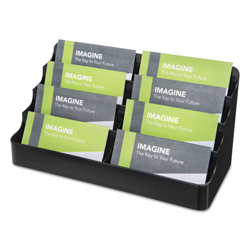 8-Tier Recycled Business Card Holder, 400 Card Cap, 7 7/8 x 3 7/8 x 3 3/8, Black | by Plexsupply
