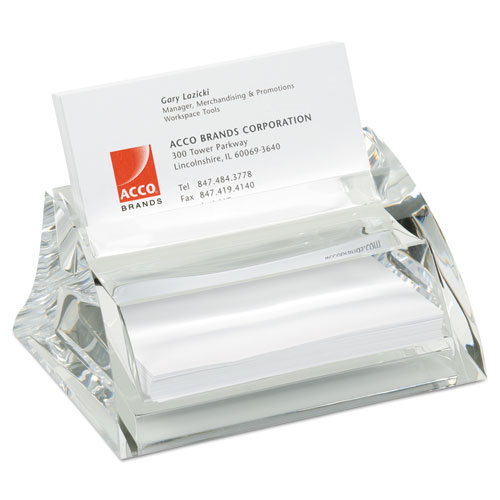 Stratus Acrylic Business Card Holder, Holds 40 3 1/2 x 2 Cards, Clear