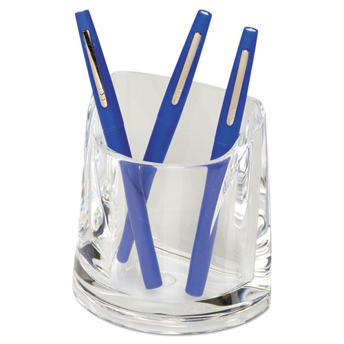 Stratus Acrylic Pen Cup, 4 1/2 x 2 3/4 x 4 1/4, Clear
