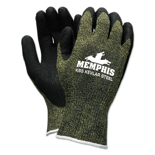 MCR™ Safety KS-5 Latex Dip Gloves, 13 gauge, Green Black, Medium