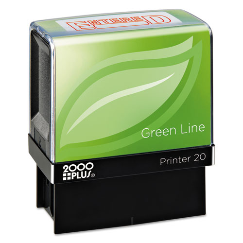 Green Line Message Stamp, Entered, 1 1/2 x 9/16, Red | by Plexsupply