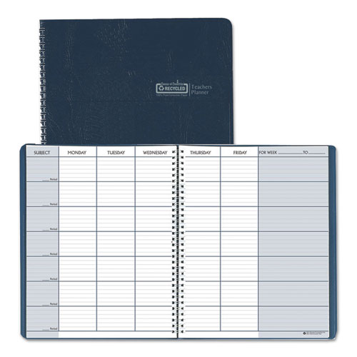 Teacher's Planner, Embossed Simulated Leather Cover, 11 x 8-1/2, Blue | by Plexsupply