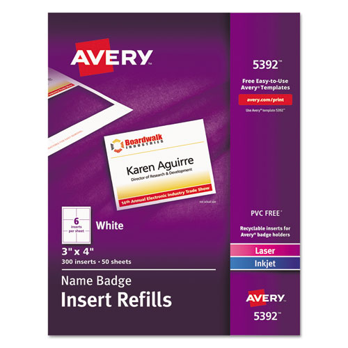 Name Badge Insert Refills, Horizontal/Vertical, 3 x 4, White, 300/Box | by Plexsupply