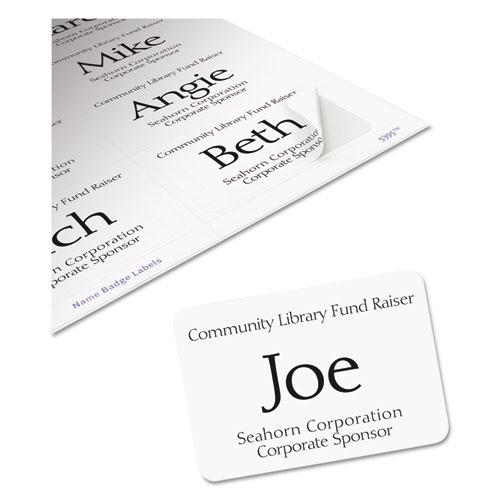 Flexible Adhesive Name Badge Labels, 3.38 x 2.33, White, 400/Box