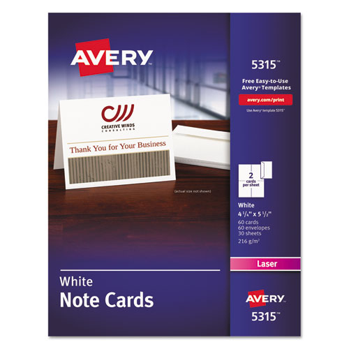 Note Cards, Laser Printer, 4 1/4 x 5 1/2, Uncoated White, 60/Pack with Envelopes