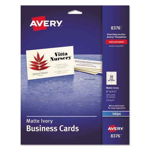 Printable Microperforated Business Cards with Sure Feed Technology, Inkjet, 2 x 3.5, Ivory, Matte, 250/Pack