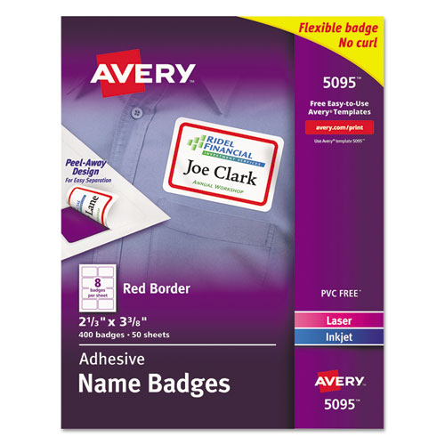 Flexible Adhesive Name Badge Labels, 3.38 x 2.33, White/Red Border, 400/Box