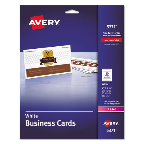 Printable Microperforated Business Cards with Sure Feed Technology, Laser, 2 x 3.5, White, Uncoated, 250/Pack