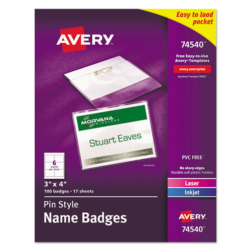 Pin-Style Badge Holder with Laser/Inkjet Insert, Top Load, 4 x 3, White, 100/Box | by Plexsupply
