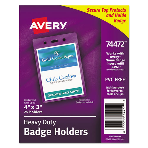 Secure Top Heavy-Duty Badge Holders, Vertical, 3w x 4h, Clear, 25/Pack | by Plexsupply