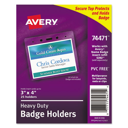 Secure Top Heavy-Duty Badge Holders, Horizontal, 4w x 3h, Clear, 25/Pack | by Plexsupply