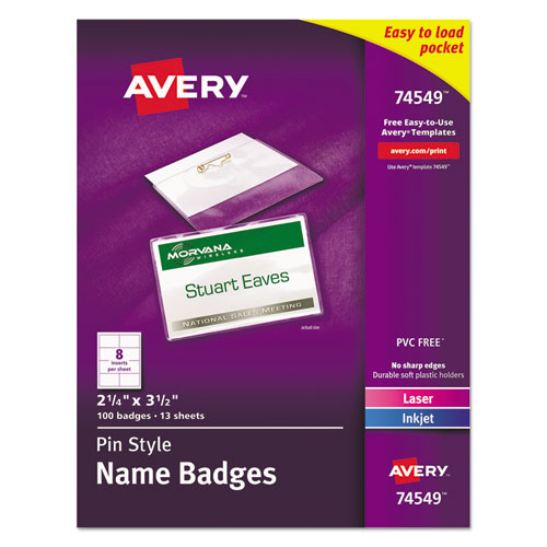 Avery® Badge Holder Kit w/Laser/Inkjet Insert, Top Load, 2 1/4 x 3 1/2, White, 100/BX