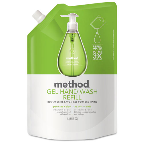 Gel Hand Wash Refill, Green Tea and Aloe, 34 oz Pouch