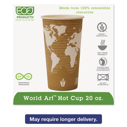 World Art Renewable Compostable Hot Cups, 20 oz., 50/PK, 20 PK/CT EPBHC20WA