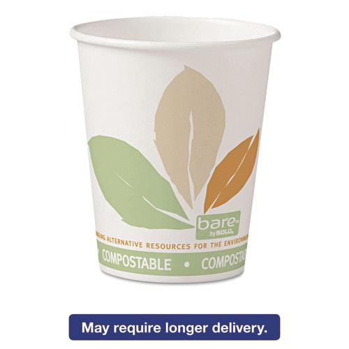 Bare by Solo Eco-Forward PLA Paper Hot Cups, 10oz, Leaf Design,50/Bag,20 Bags/Ct 370PLAJ7234
