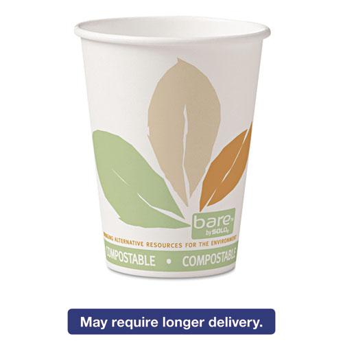 Bare  by Solo Eco-Forward PLA Paper Hot Cups, 12oz,Leaf Design,50/Bag,20 Bags/Ct 412PLNJ7234
